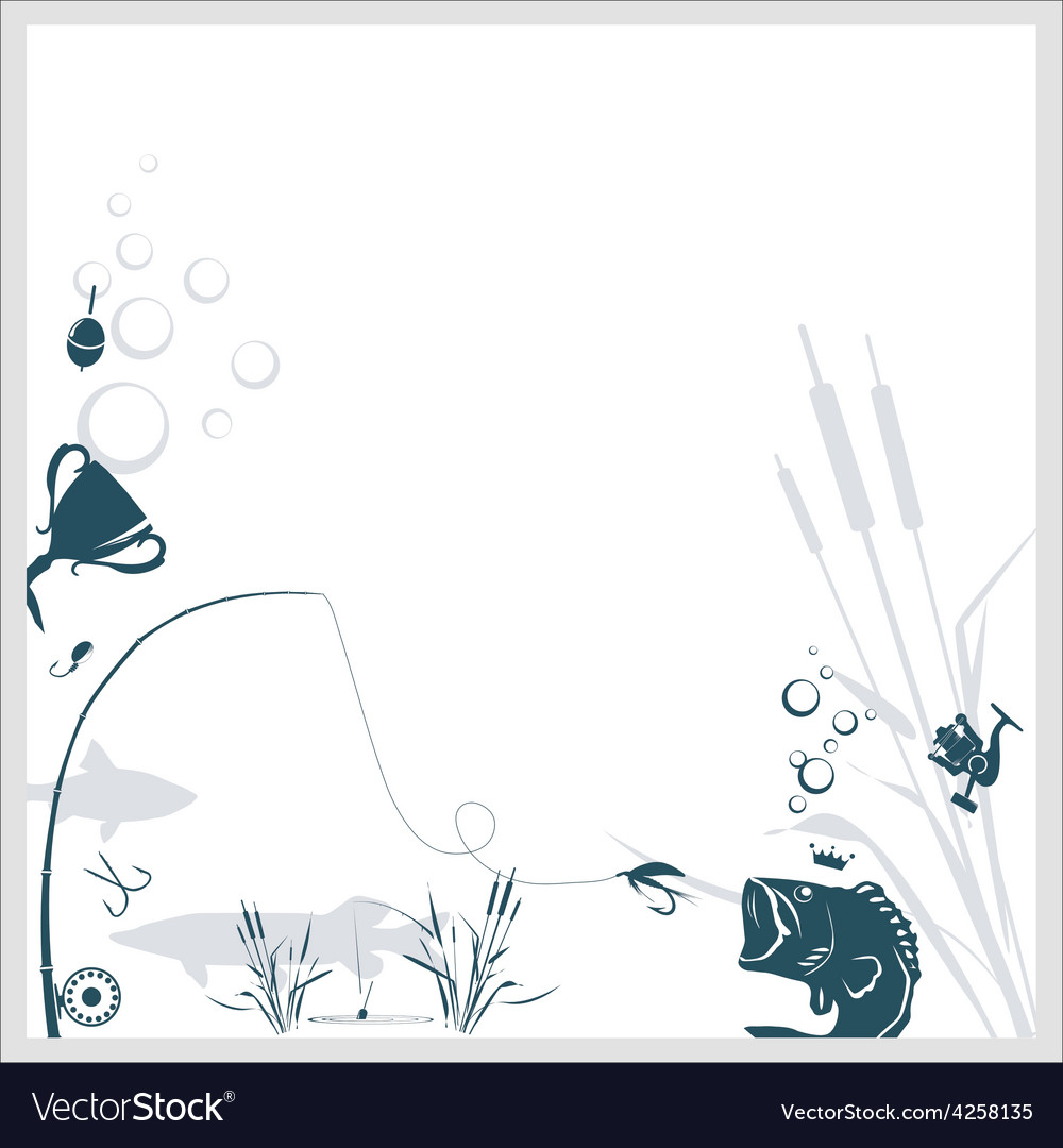 Fishing background vector