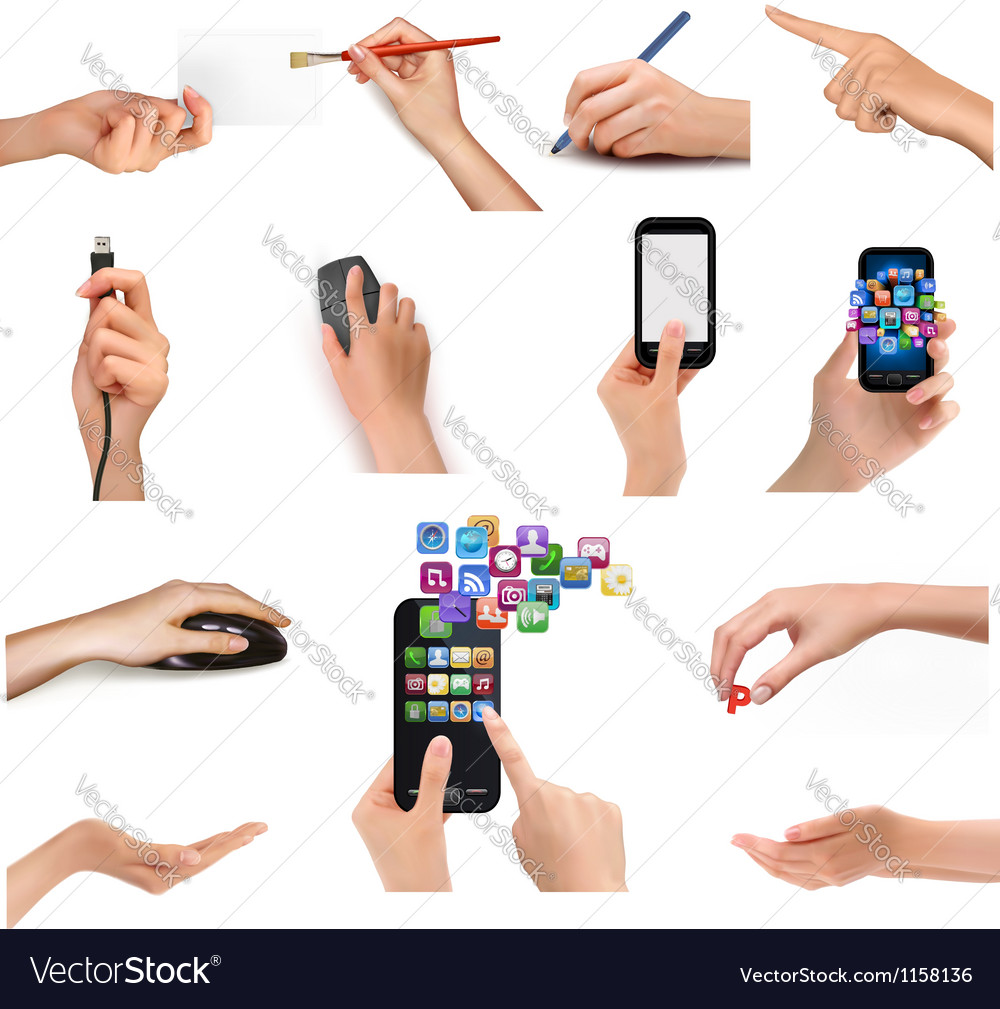 Collection of hands holding different business vector