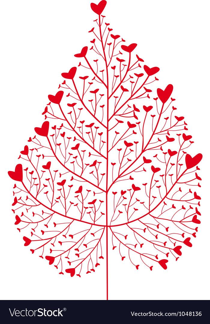 Red heart tree vector