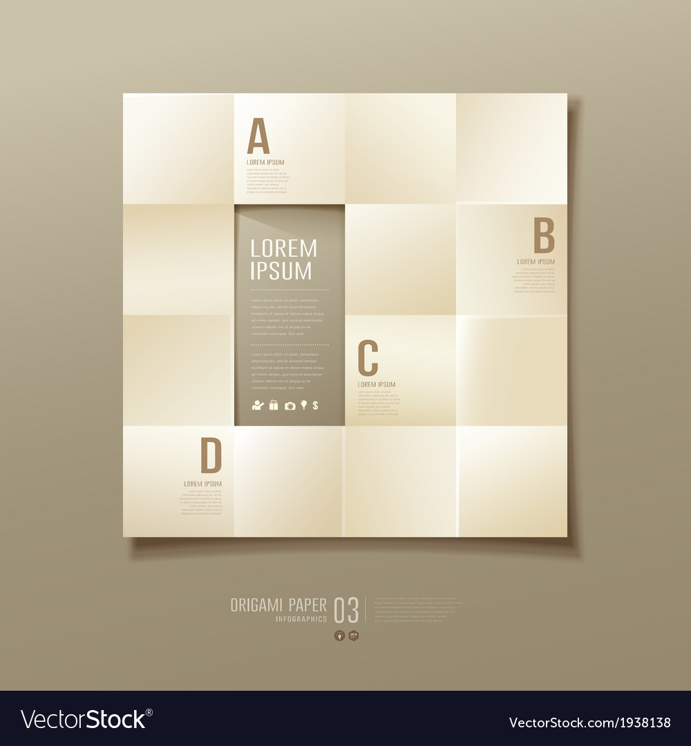 Origami sepia paper cuts square infographic vector