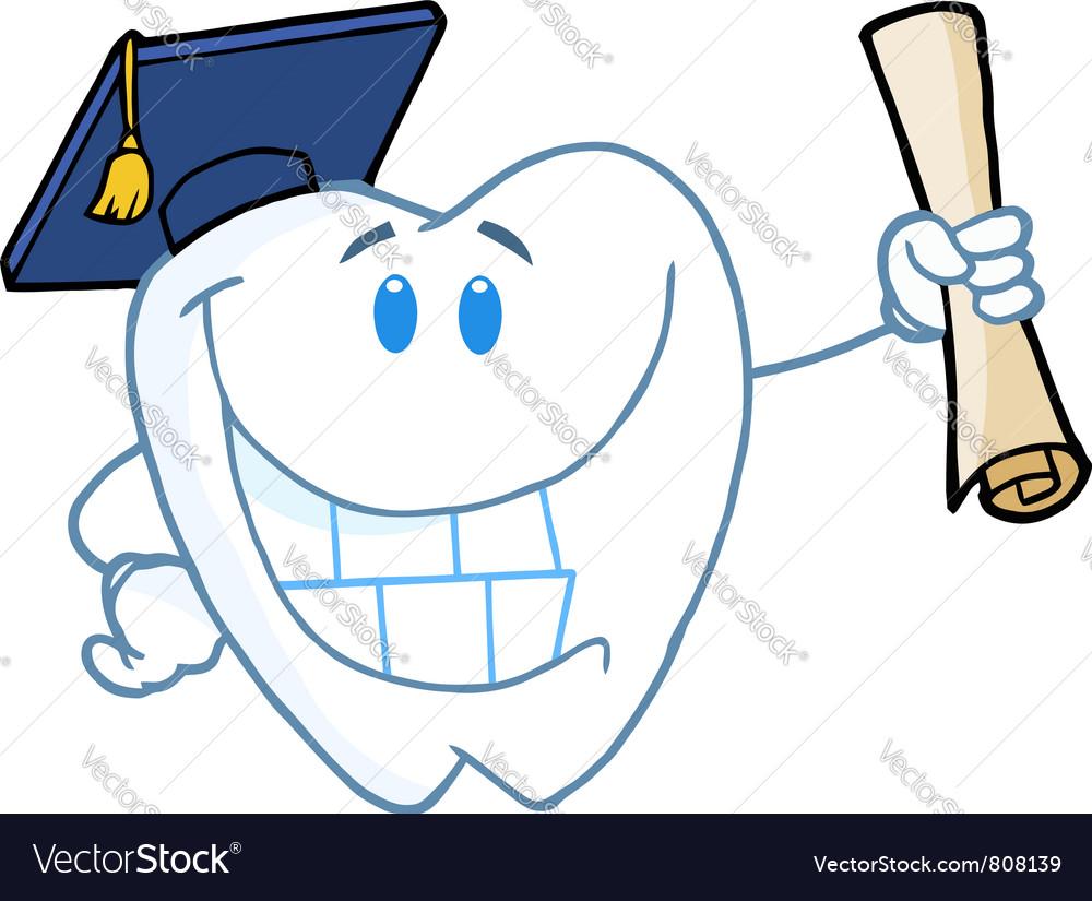 Graduate tooth holding a diploma vector