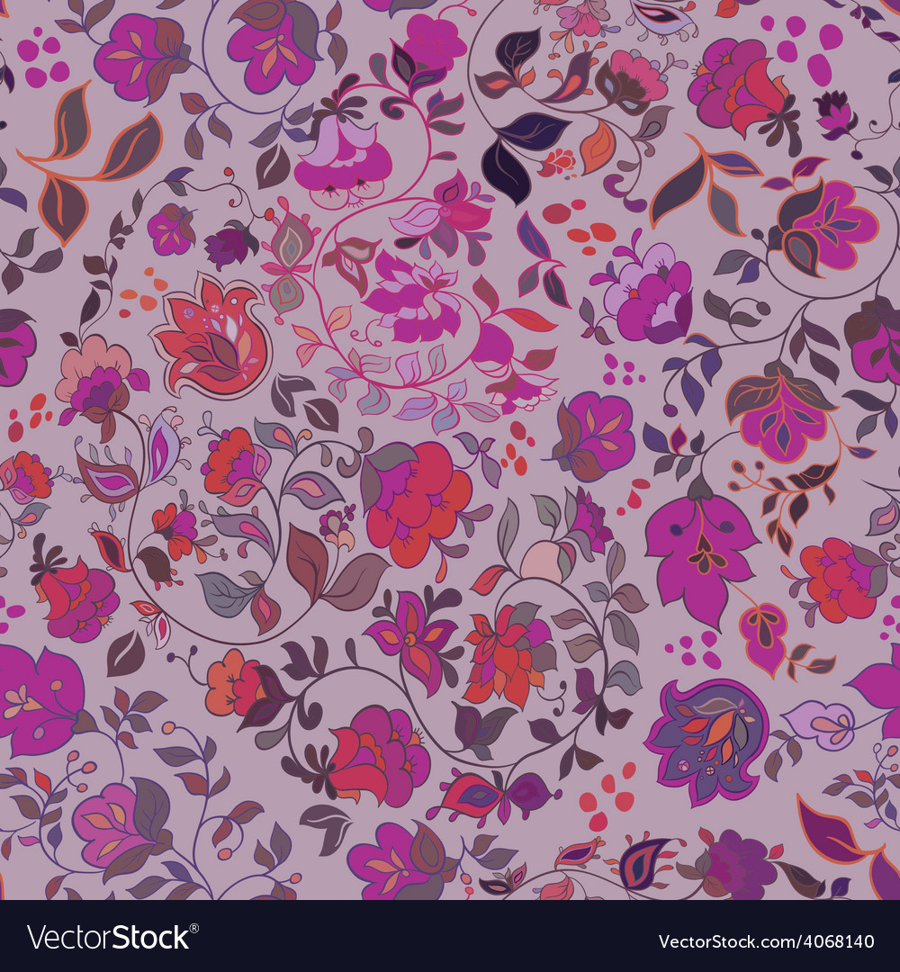 Decorative floral boho seamless pattern vector