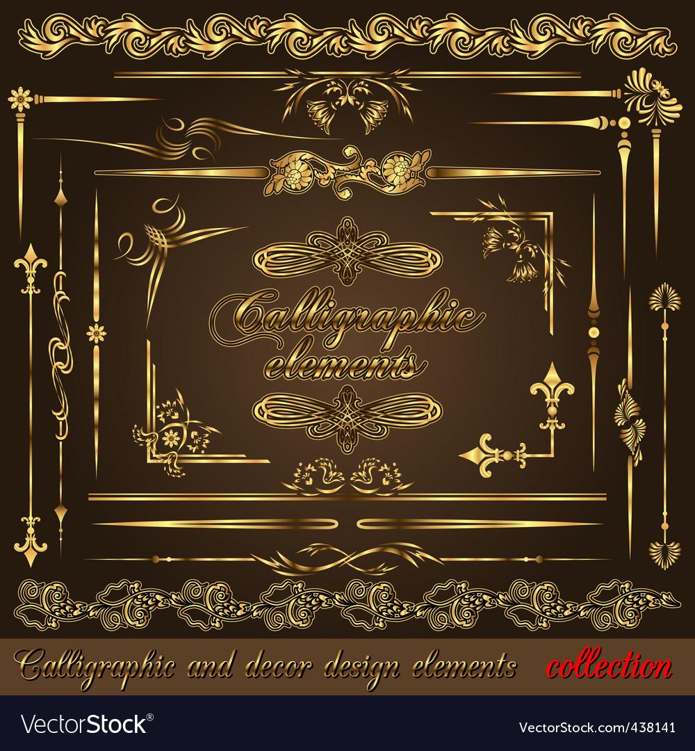 Gold calligraphic vector