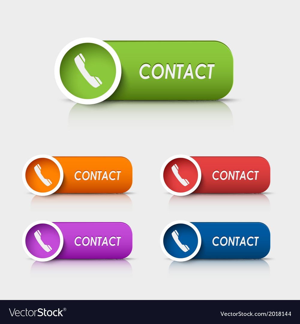Colored rectangular web buttons contact vector
