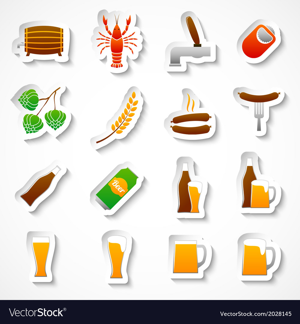 Alcohol beer party stickers set vector