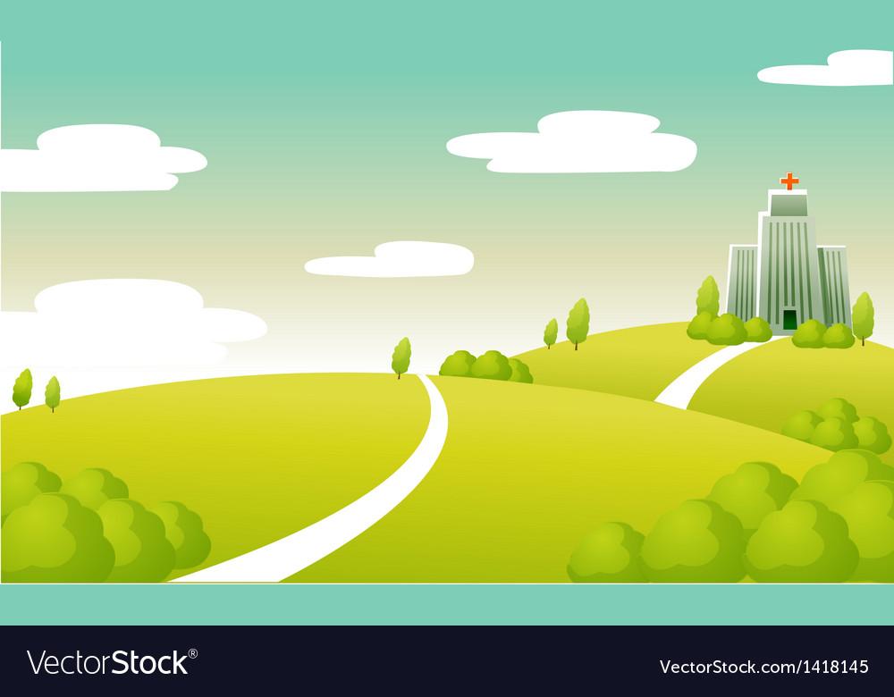 Hospital building green landscape vector