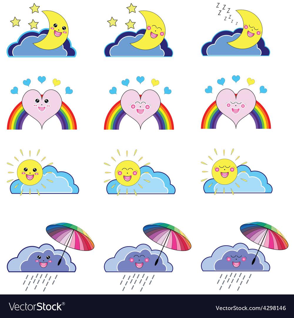 Kwaii weather icons vector