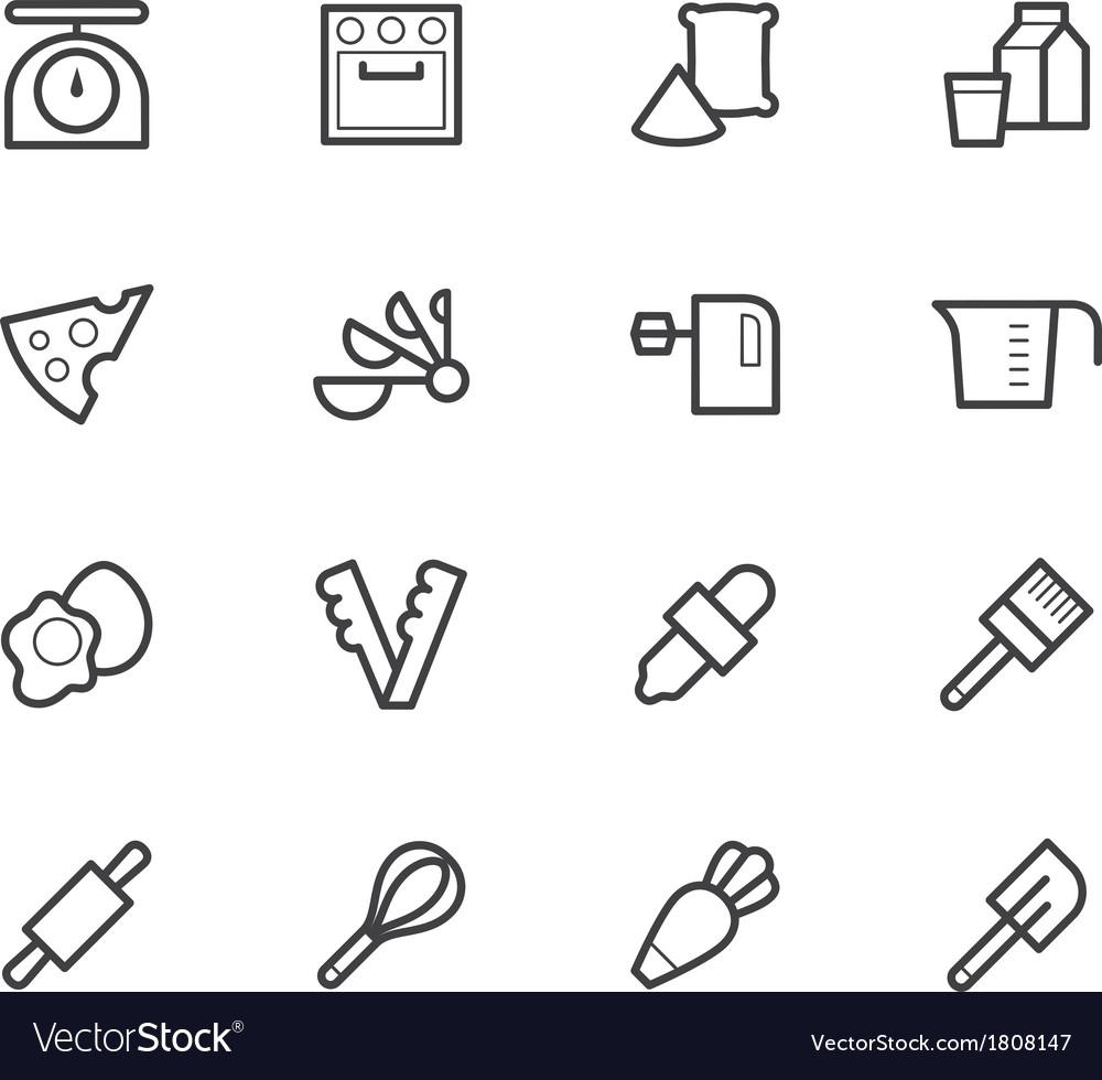 Bakery tools black icon set on white background vector