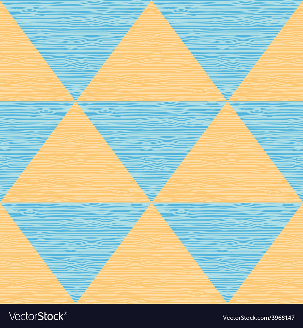Seamless abstract blue and orange triangles vector