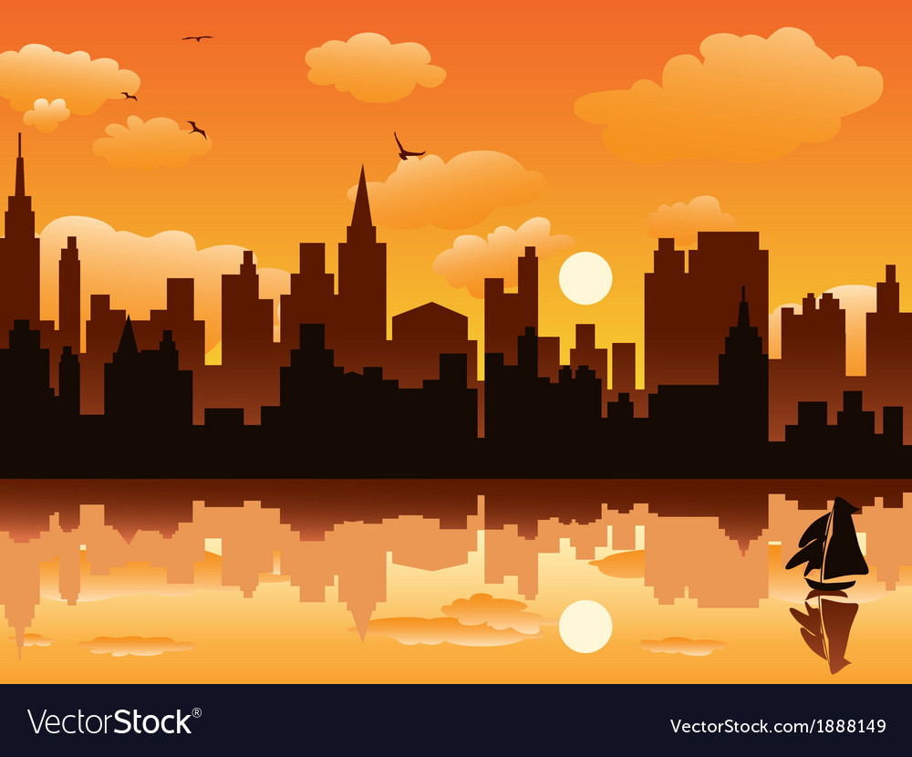 City in sunset vector