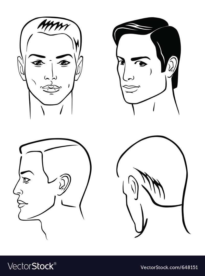 Four man outline faces vector