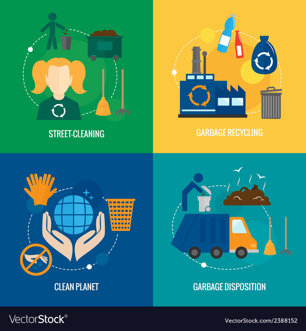 Garbage icons composition vector