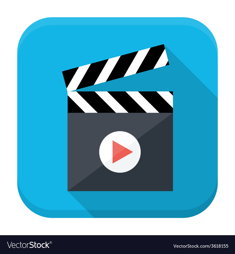 Clapboard play flat app icon with long shadow vector