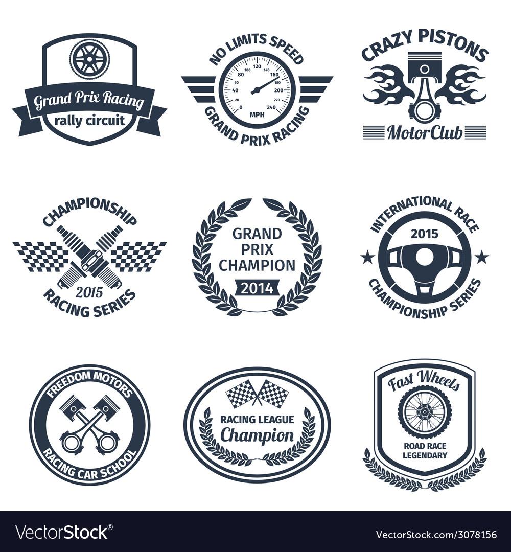 Racing emblems black vector