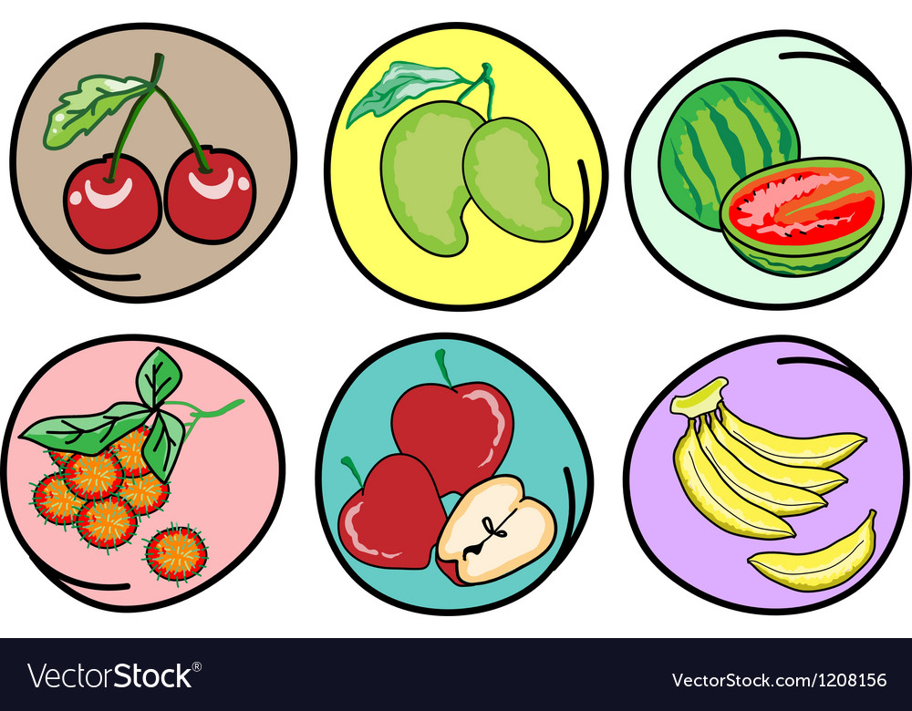 Set of fresh fruits on round background vector