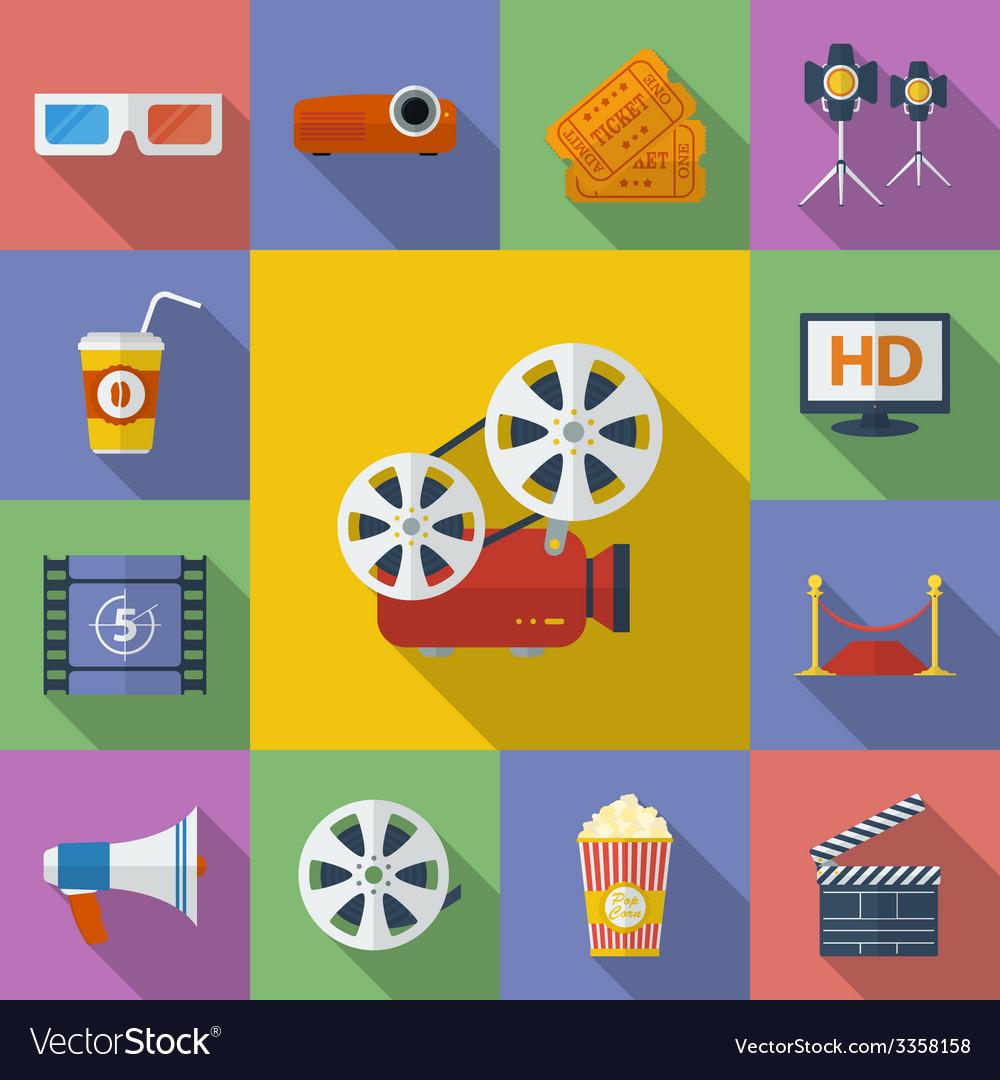 Set of cinema movie icons flat style vector