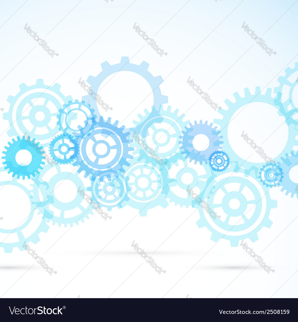 Blue gear abstract modern mechanical background vector