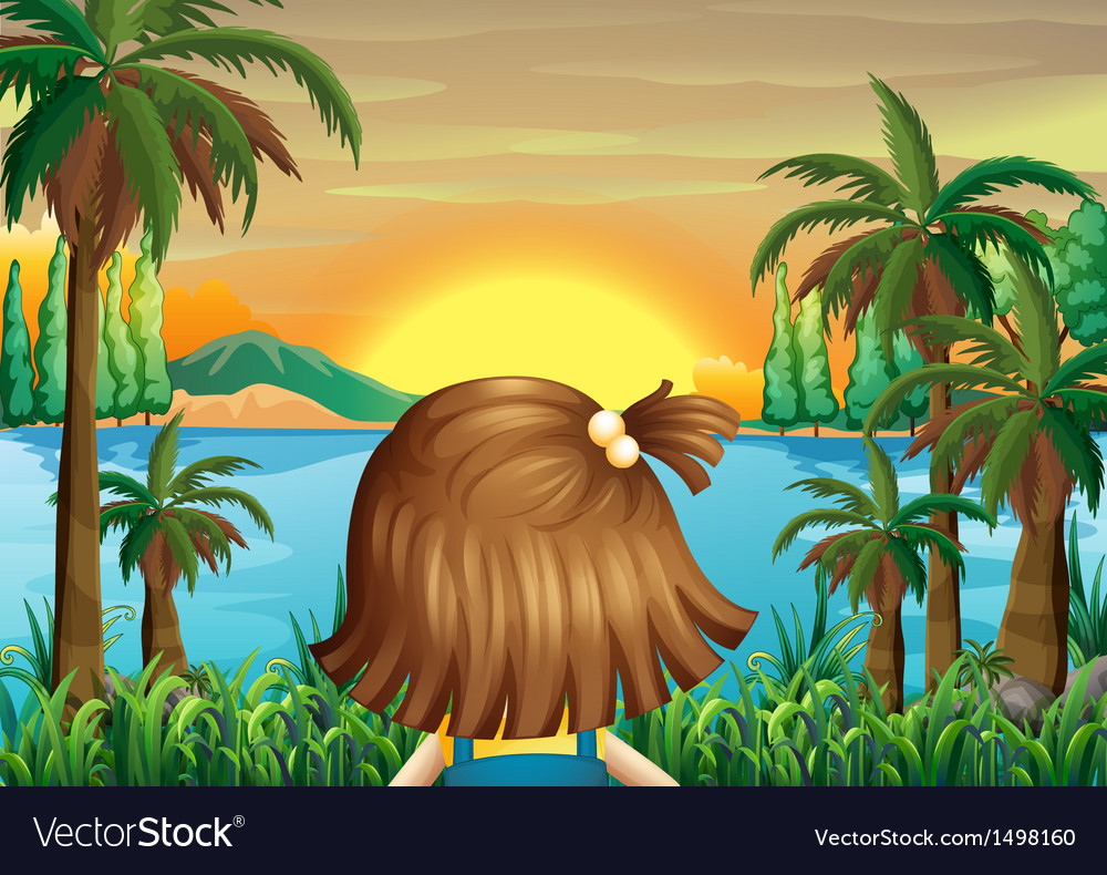 A little girl watching the sunset at the riverbank vector