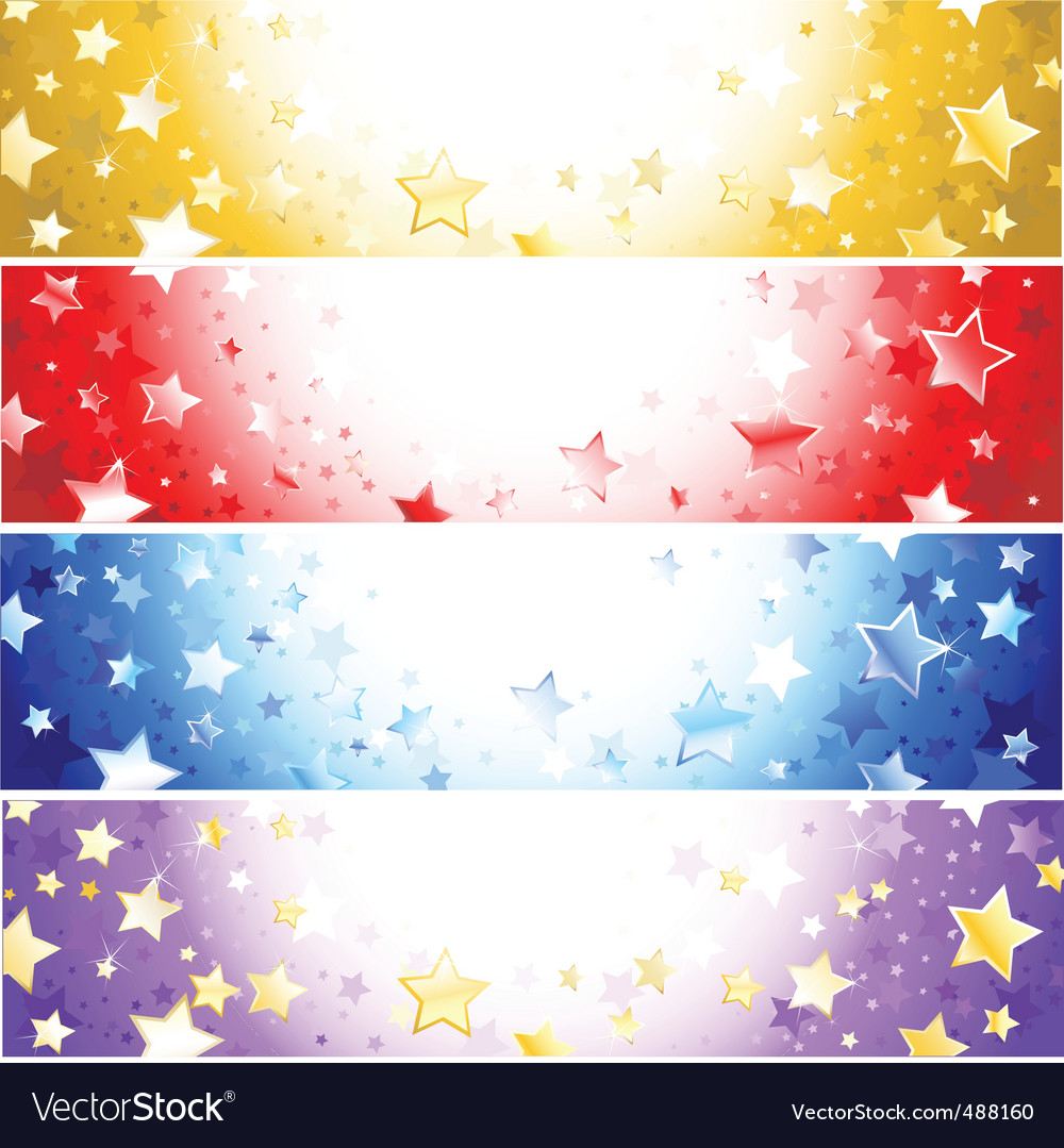 Four banners with sparkling st vector