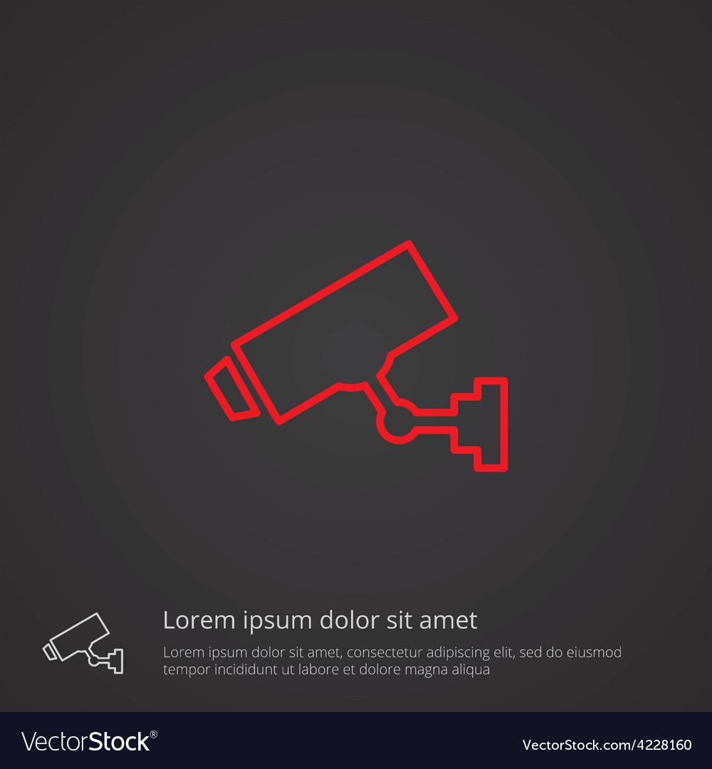 Security camera outline symbol red on dark vector
