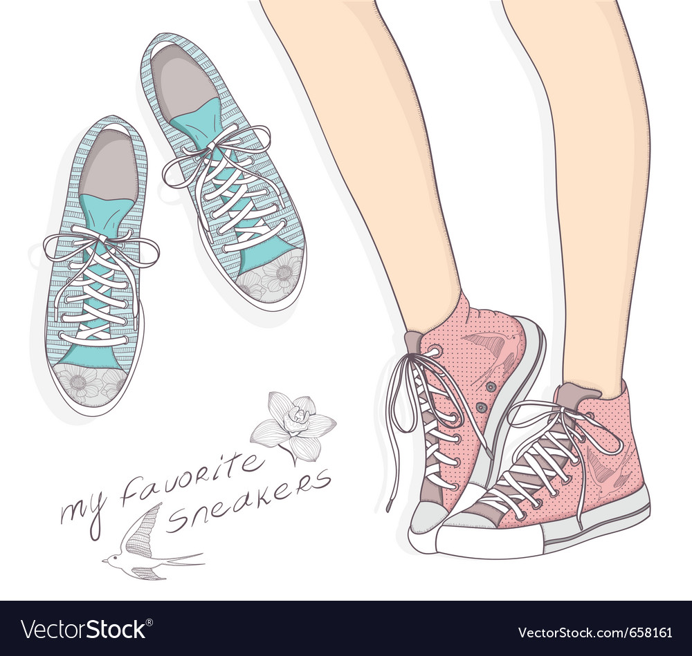 Sports fashion shoes vector