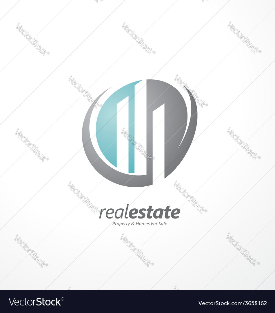 Abstract shape with cityscape in negative space vector