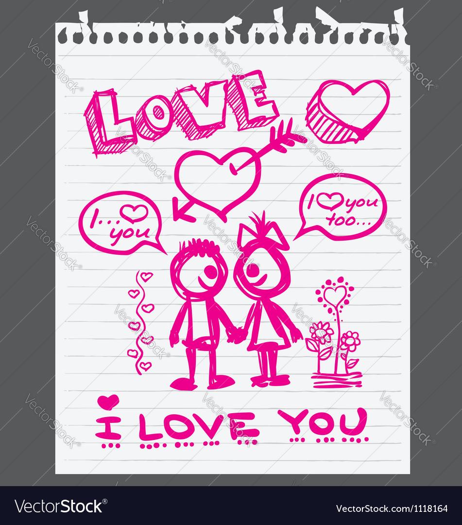 Valentine love you vector