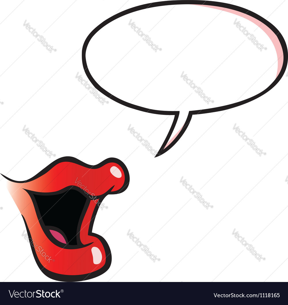 Cartoon female mouth with speech bubble vector