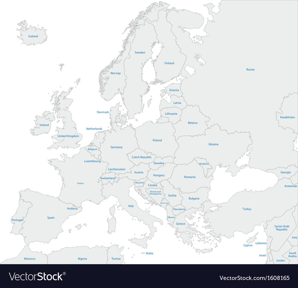 Grey europe map vector