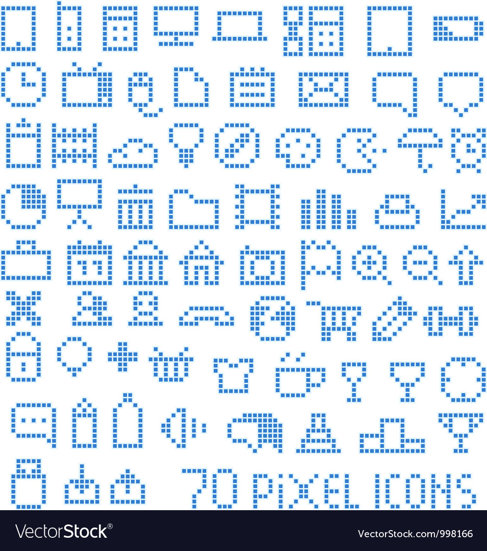 70 pixel web icons vector