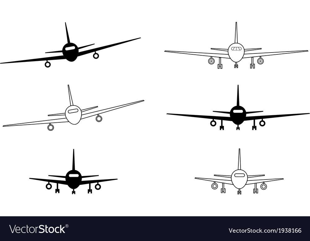 Black and white contour planes vector