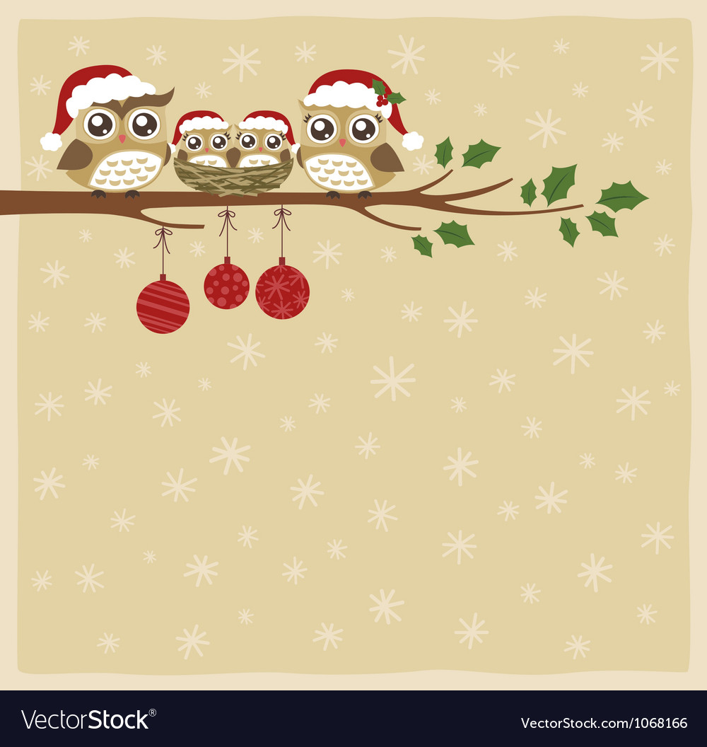 Owl christmas celebration vector