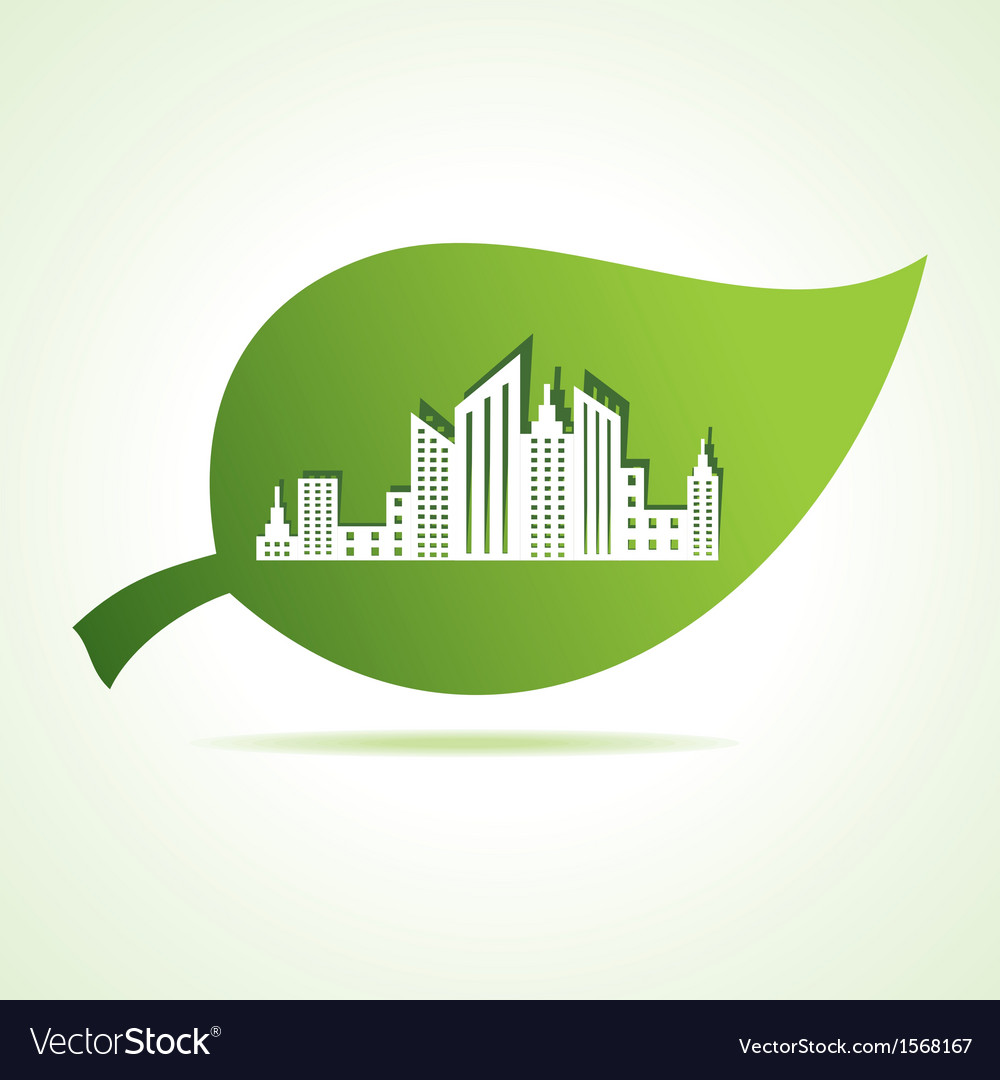 Cityscape at leaf vector