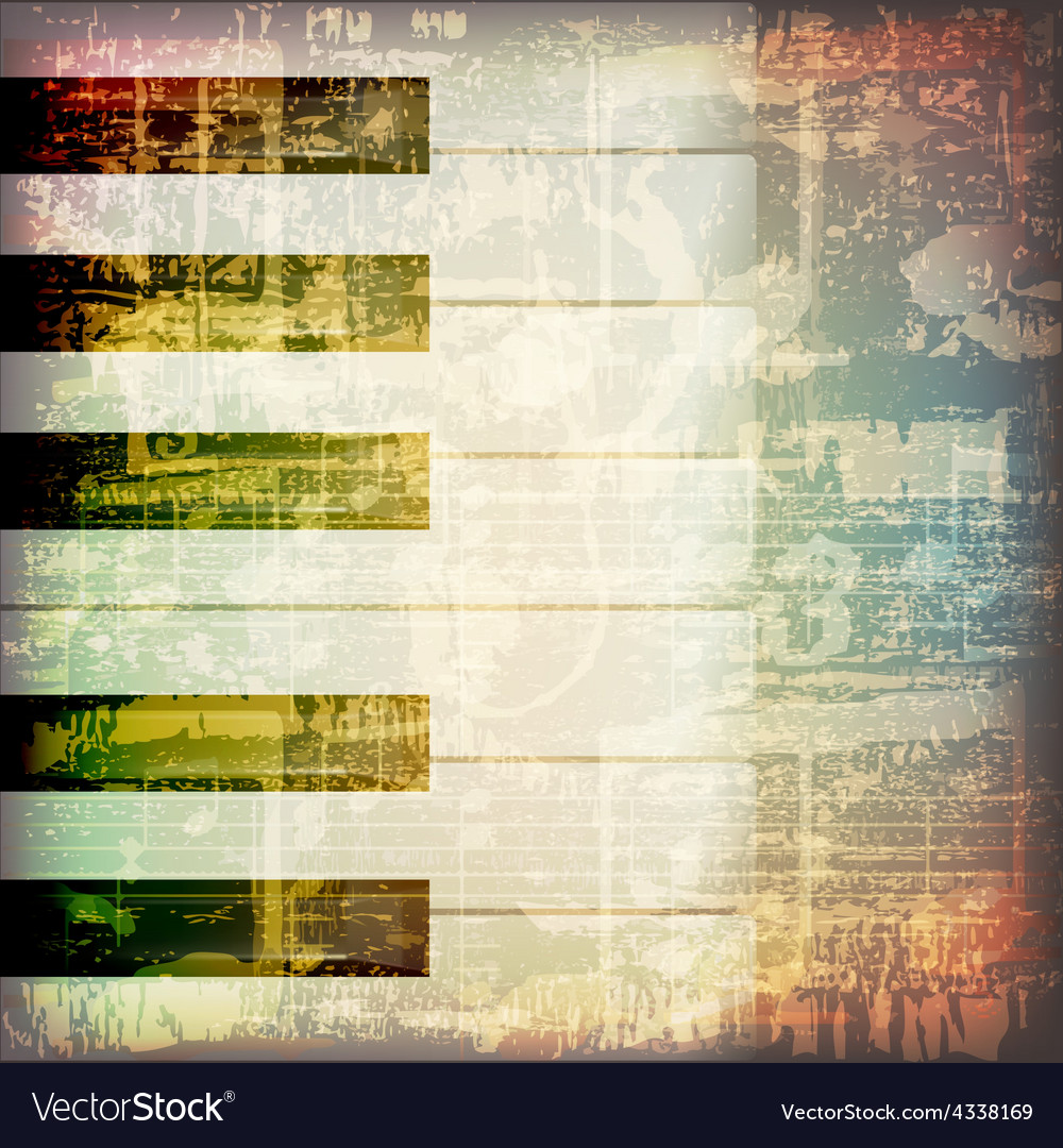 Abstract grunge cracked music symbols vintage vector