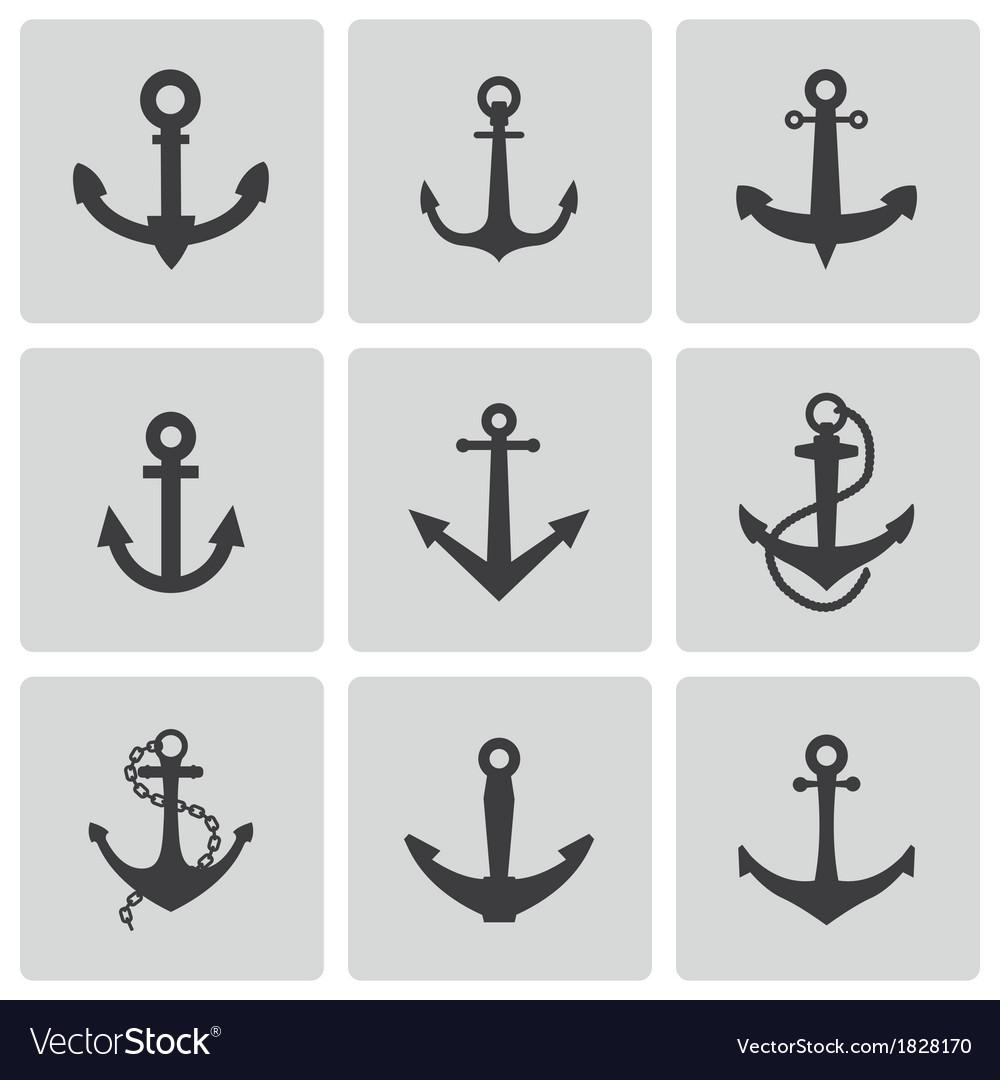 Black anchor icons set vector