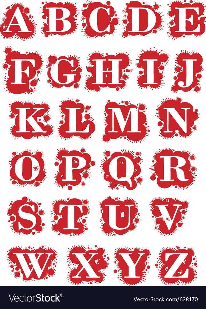 Latin symbol font with drops vector
