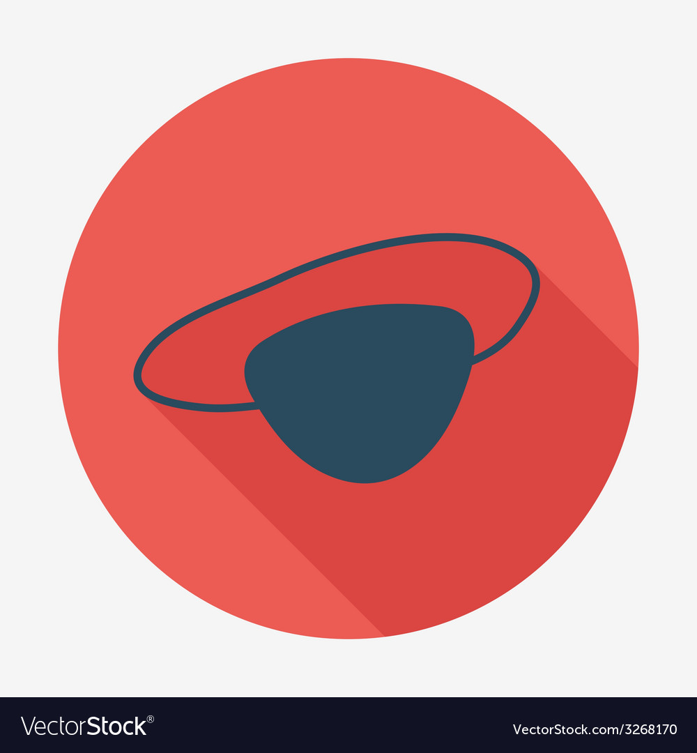 Pirate icon with long shadow eye-patch flat design vector