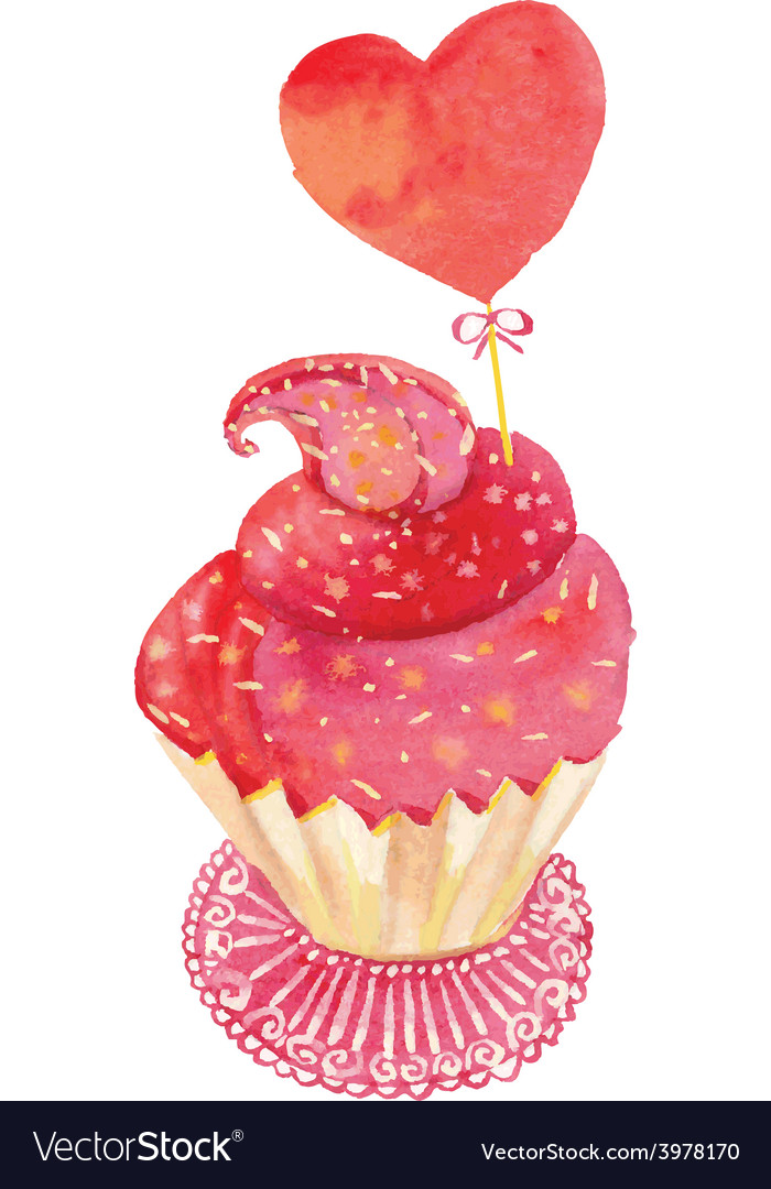 Watercolor cupcake vector
