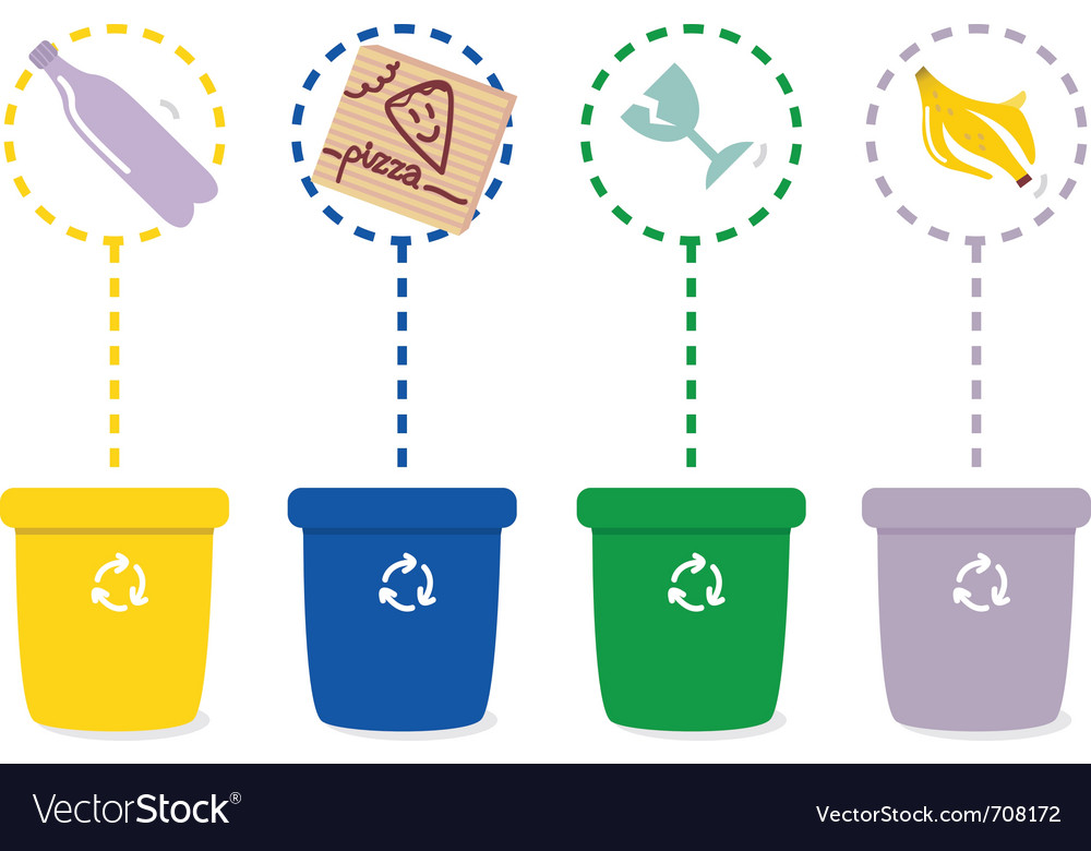 Colorful recycle bins vector