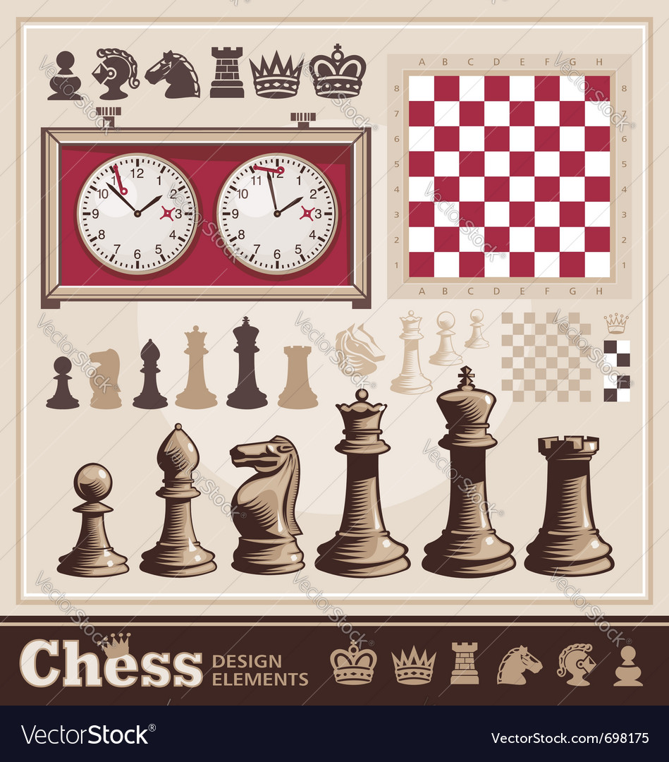Set of chess design elements vector