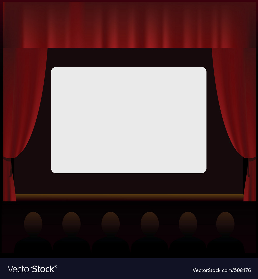 Cinema screen with people in the hall vector