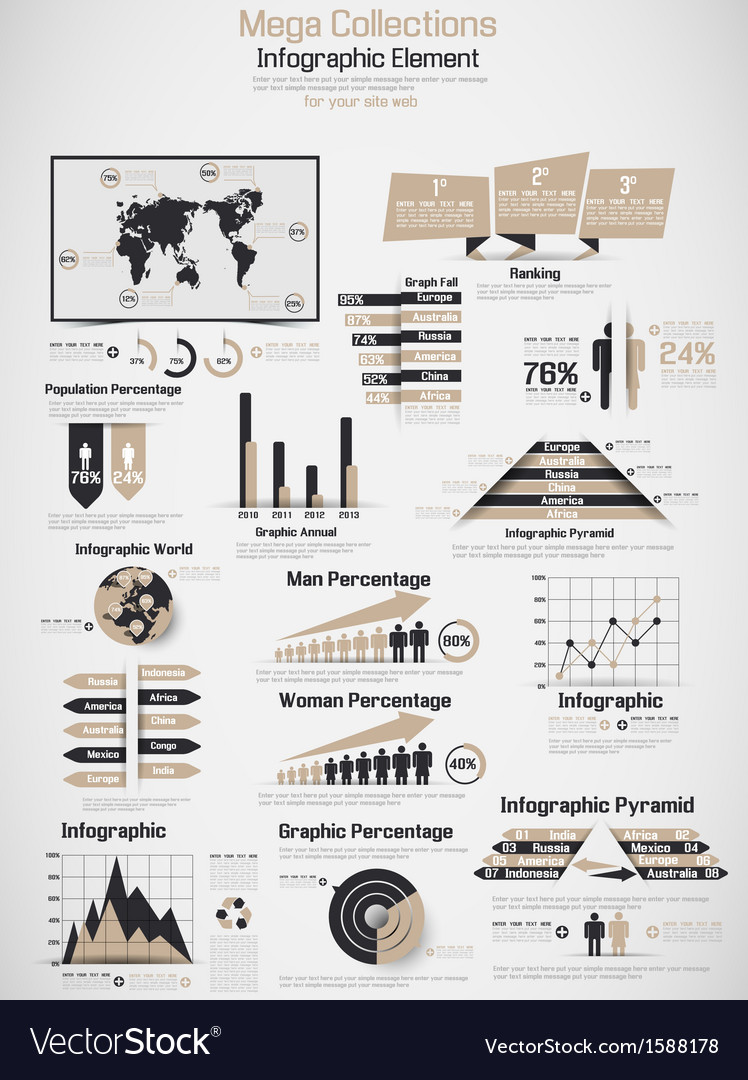 Retro infographic demographic world map elements vector