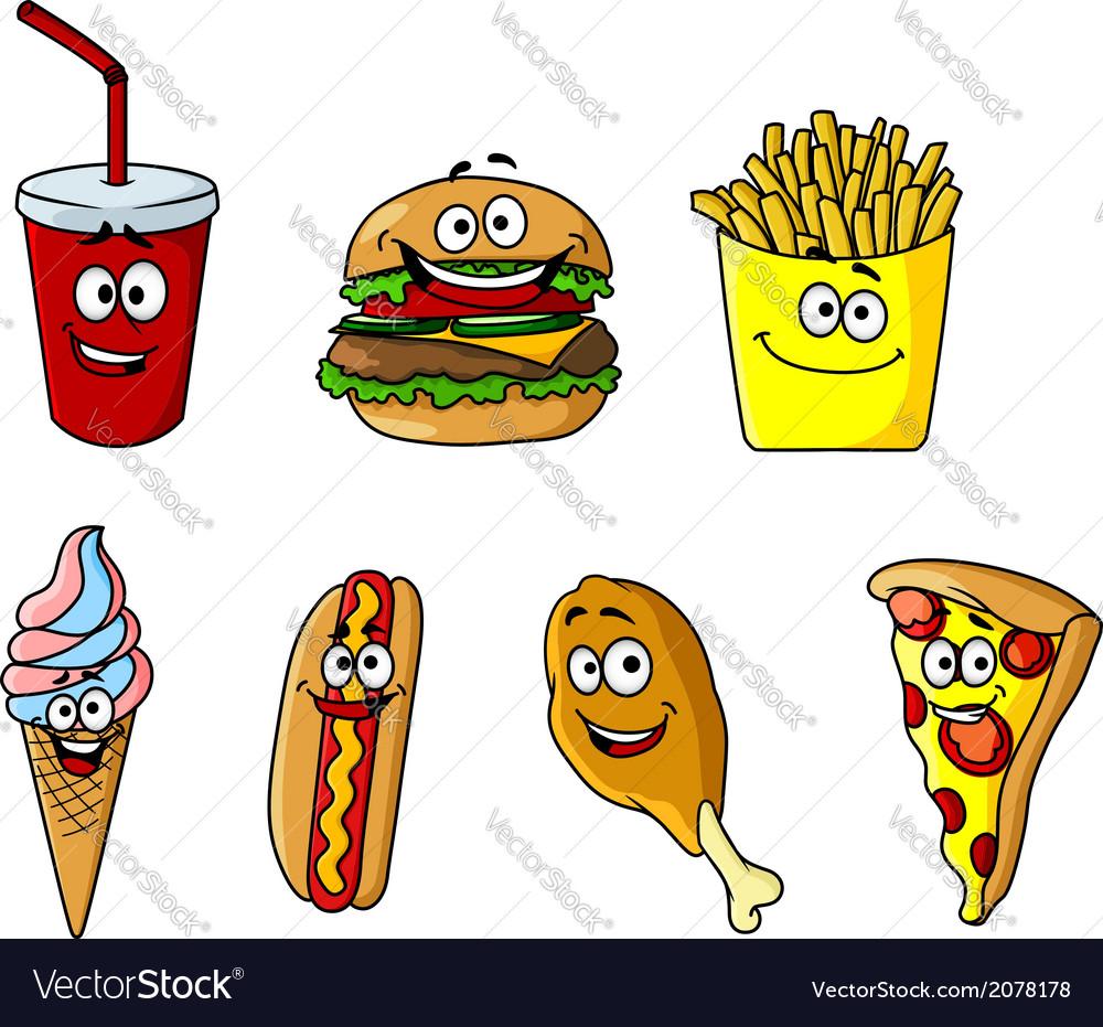 Set of happy cartoon takeaway food icons vector