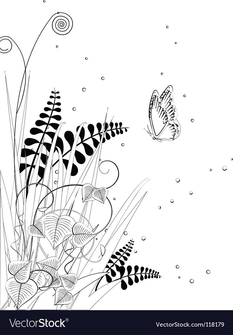 Floral ink sketch vector