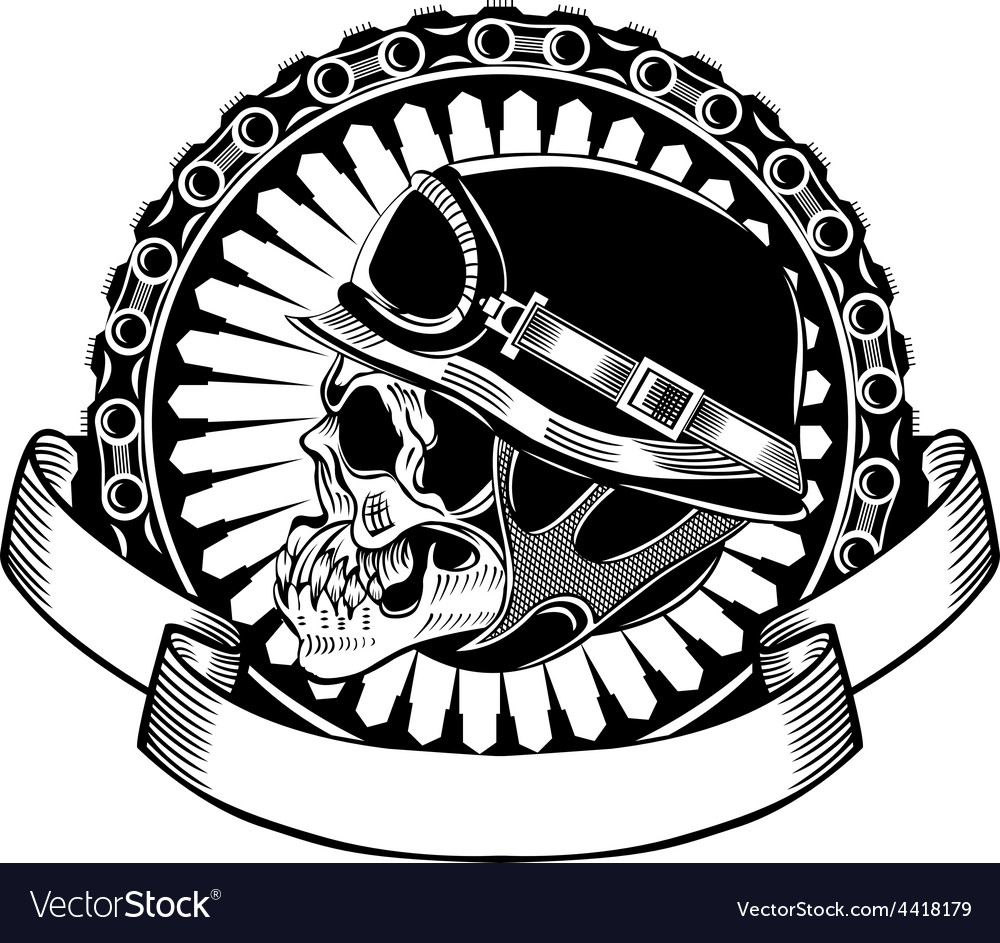 Skull with helmet vector