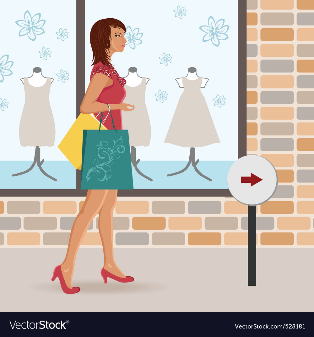Modern girl loaded with shopping bags vector