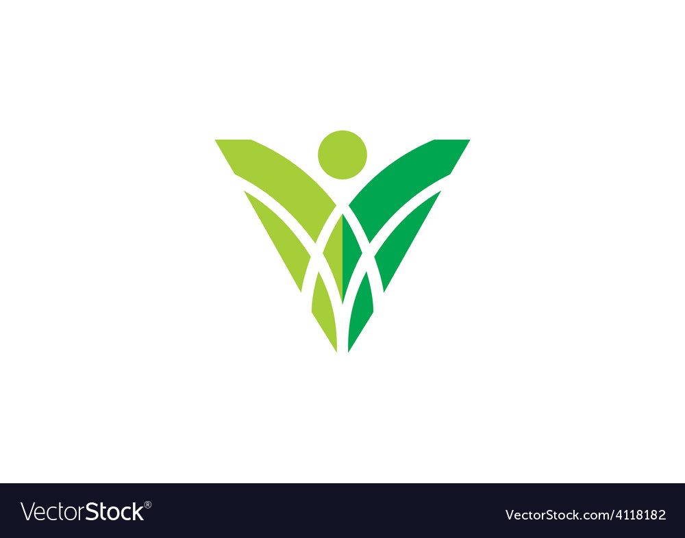 People abstract decoration ecology logo vector