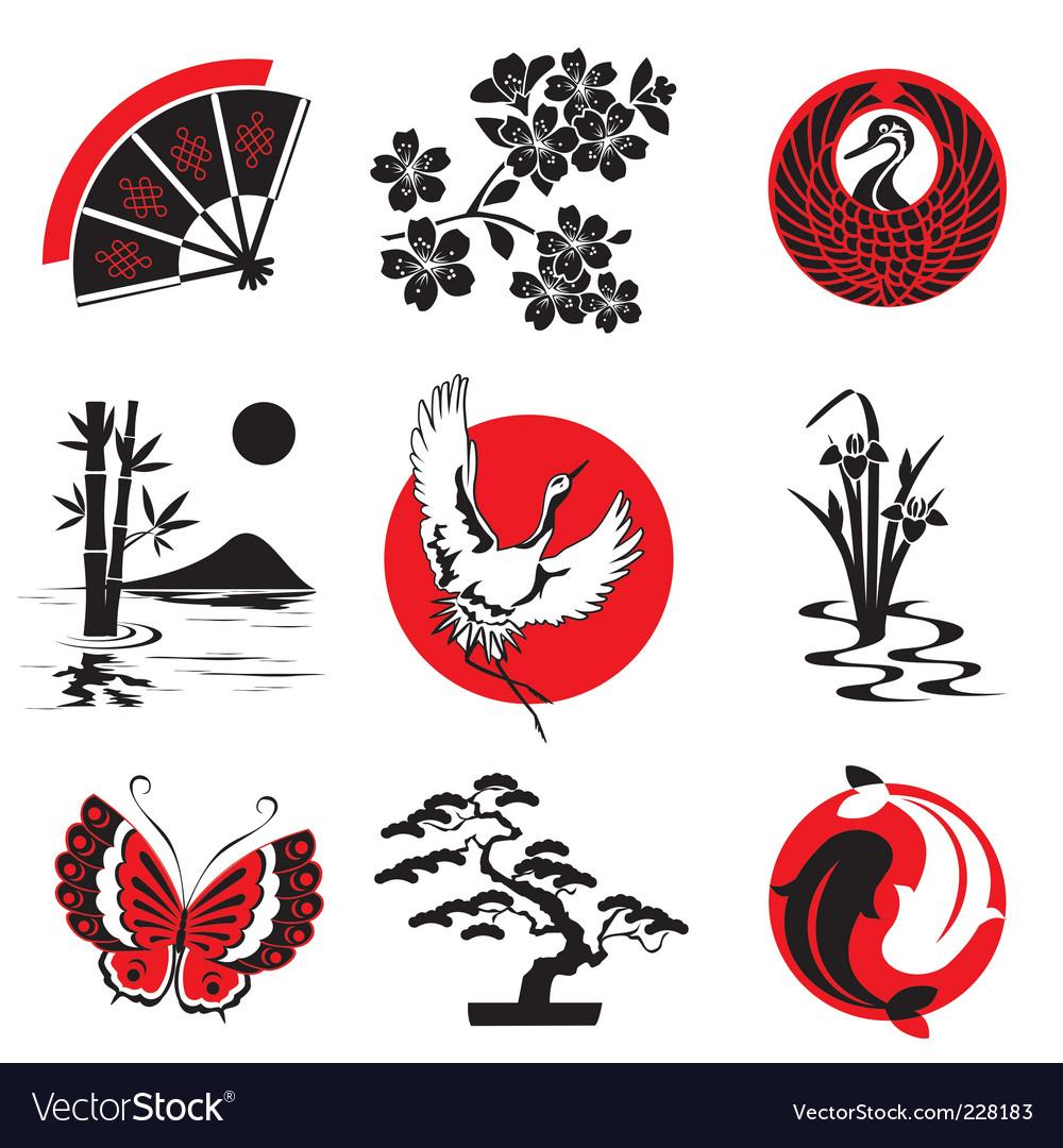 Japanese design elements vector