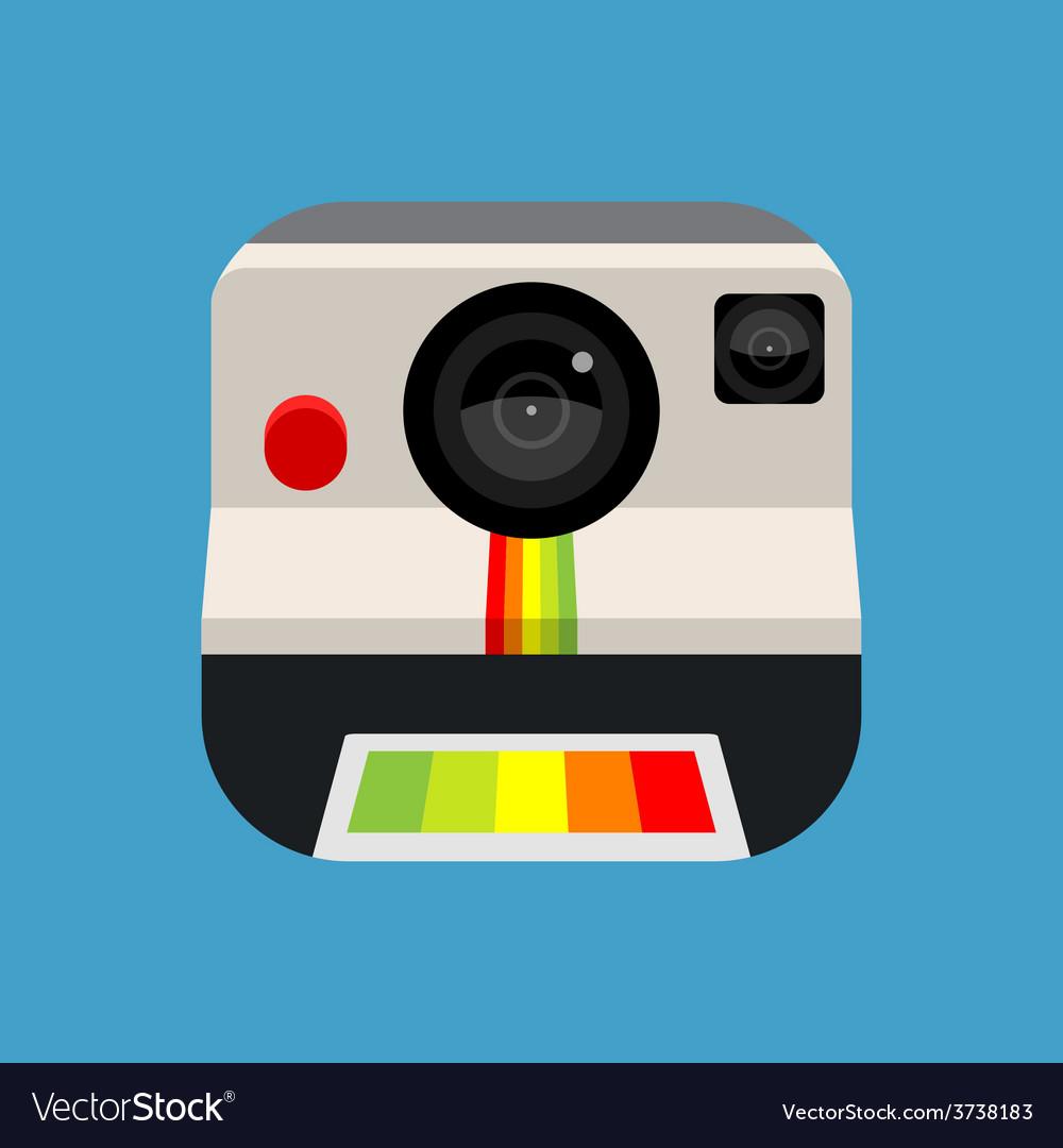 Retro instant camera icon vector