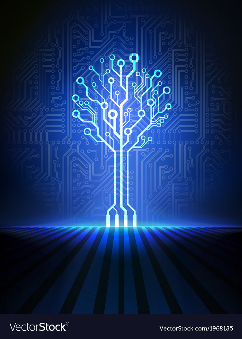 Blue circuit tree vector